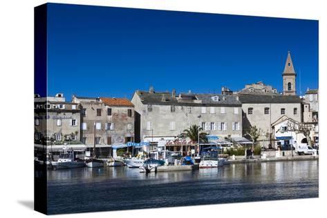 Port View of St-Florent, Le Nebbio, Corsica, France-Walter Bibikow-Stretched Canvas Print