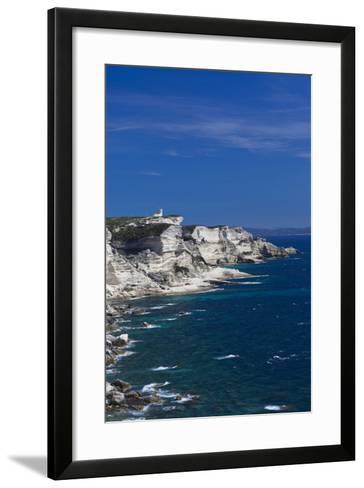 Falaises Cliffs Towards Capo Pertusato, Bonifacio, Corsica, France-Walter Bibikow-Framed Art Print