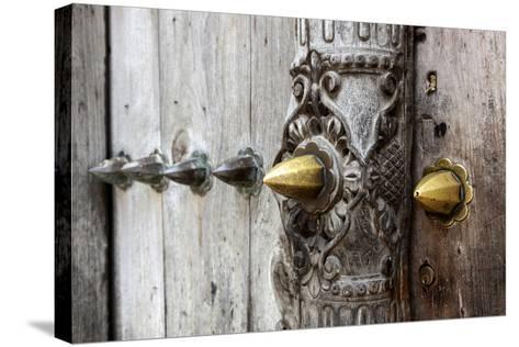 Close-Up of Traditional Carved Door, Stone Town, Zanzibar, Tanzania-Alida Latham-Stretched Canvas Print