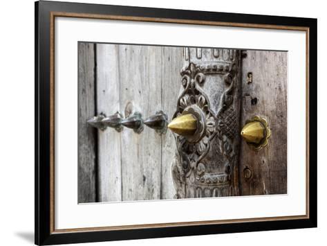 Close-Up of Traditional Carved Door, Stone Town, Zanzibar, Tanzania-Alida Latham-Framed Art Print