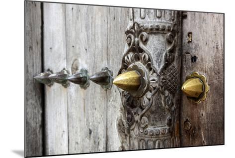Close-Up of Traditional Carved Door, Stone Town, Zanzibar, Tanzania-Alida Latham-Mounted Photographic Print