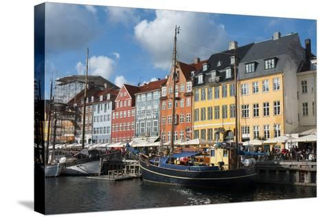 Crowds at Cafes and Restaurants, Nyhavn, Copenhagen, Denmark-Inger Hogstrom-Stretched Canvas Print