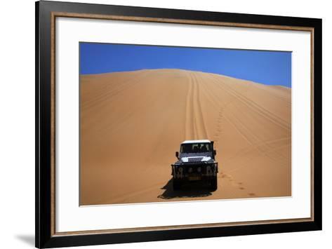 Car Descending a Sand Dune, Namib-Naukluft National Park, Namibia-David Wall-Framed Art Print