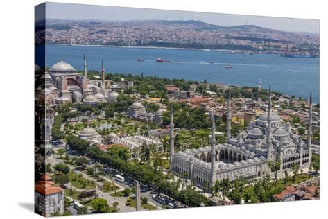 Hagia Sophia and the Blue Mosque, Aerial, Bosphorus, Istanbul, Turkey-Ali Kabas-Stretched Canvas Print