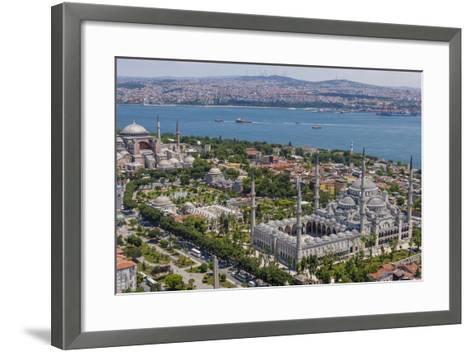 Hagia Sophia and the Blue Mosque, Aerial, Bosphorus, Istanbul, Turkey-Ali Kabas-Framed Art Print