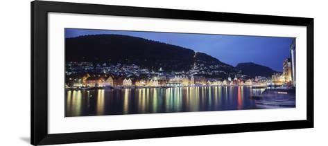 View from Harbor at Night, Bryggen, Hordaland, Norway-Walter Bibikow-Framed Art Print