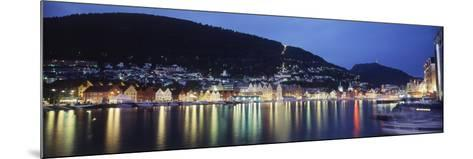 View from Harbor at Night, Bryggen, Hordaland, Norway-Walter Bibikow-Mounted Photographic Print