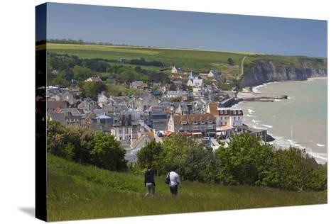 Elevated Town View, Arromanches Les Bains, Normandy, France-Walter Bibikow-Stretched Canvas Print