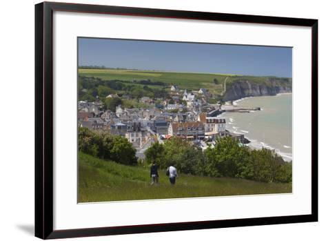Elevated Town View, Arromanches Les Bains, Normandy, France-Walter Bibikow-Framed Art Print
