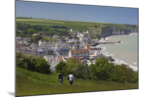Elevated Town View, Arromanches Les Bains, Normandy, France-Walter Bibikow-Mounted Photographic Print