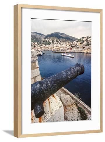 Cannon, Hydrofoil Boat, Harbor, Hydra Island, Greece-Ali Kabas-Framed Art Print