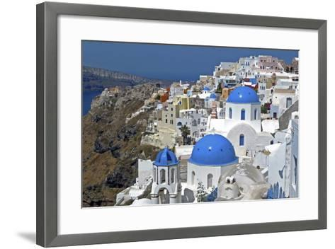 The Town of Oia on the Island of Santorini, Greece-David Noyes-Framed Art Print