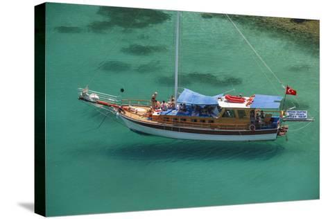 Gulet in Paradise Cove (Ilica Buku), Bodrum, Mugla, Turkey-Ali Kabas-Stretched Canvas Print