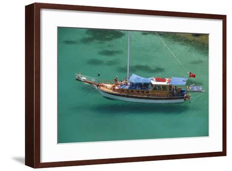 Gulet in Paradise Cove (Ilica Buku), Bodrum, Mugla, Turkey-Ali Kabas-Framed Art Print