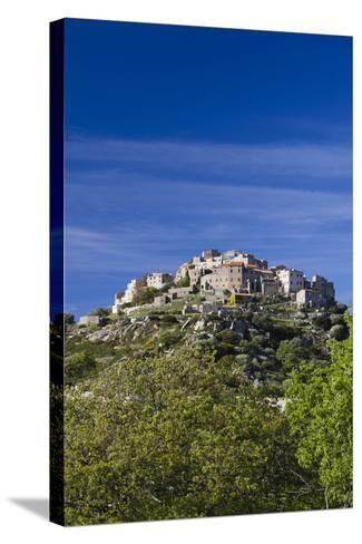 Elevated Town View, Sant Antonino, La Balagne, Corsica, France-Walter Bibikow-Stretched Canvas Print