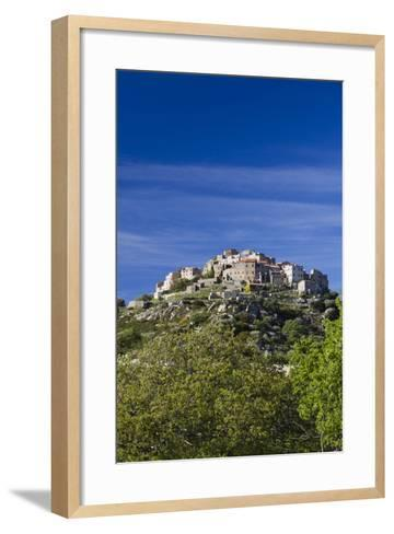 Elevated Town View, Sant Antonino, La Balagne, Corsica, France-Walter Bibikow-Framed Art Print