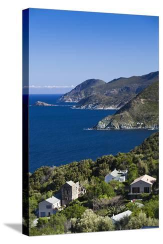 Coastal View of Pino, Le Cap Corse, Corsica, France-Walter Bibikow-Stretched Canvas Print