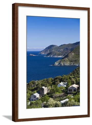 Coastal View of Pino, Le Cap Corse, Corsica, France-Walter Bibikow-Framed Art Print