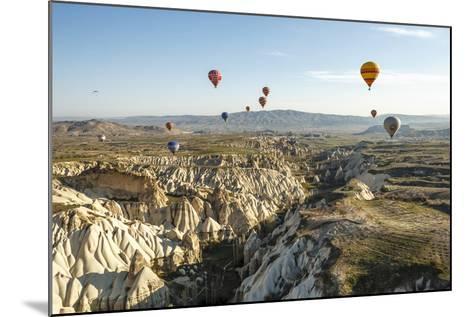 Aerial View of Hot Air Balloons, Cappadocia, Central Anatolia, Turkey-Ali Kabas-Mounted Photographic Print