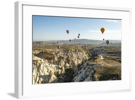 Aerial View of Hot Air Balloons, Cappadocia, Central Anatolia, Turkey-Ali Kabas-Framed Art Print