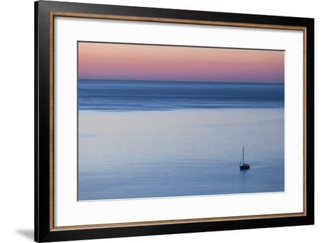 Elevated Port View at Dusk, St-Florent, Le Nebbio, Corsica, France-Walter Bibikow-Framed Art Print