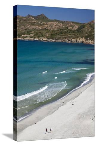 Elevated View of Plage De Ostriconi, Le Nebbio, Corsica, France-Walter Bibikow-Stretched Canvas Print