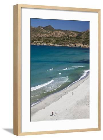Elevated View of Plage De Ostriconi, Le Nebbio, Corsica, France-Walter Bibikow-Framed Art Print