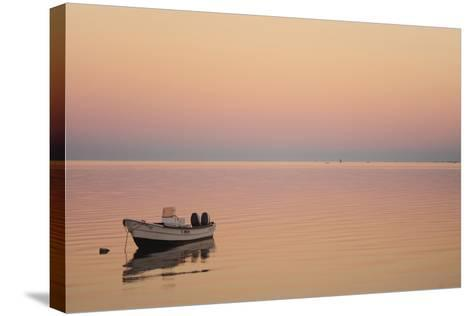 Pink Sunrise with Small Boat in the Ocean, Ifaty, Tulear, Madagascar-Anthony Asael-Stretched Canvas Print