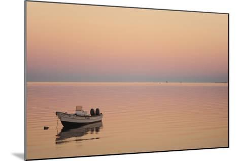 Pink Sunrise with Small Boat in the Ocean, Ifaty, Tulear, Madagascar-Anthony Asael-Mounted Photographic Print