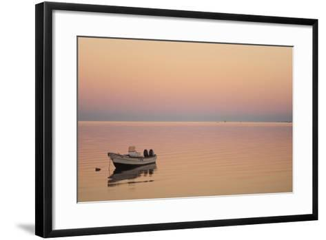 Pink Sunrise with Small Boat in the Ocean, Ifaty, Tulear, Madagascar-Anthony Asael-Framed Art Print