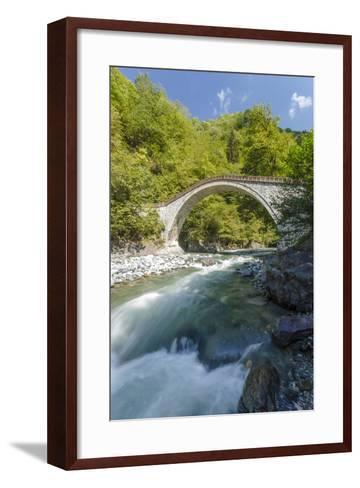 River and Stone Bridge, Rize, Black Sea Region of Turkey-Ali Kabas-Framed Art Print