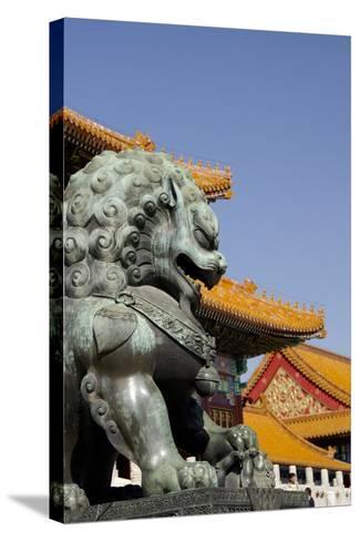 Bronze Mythological Lion Statue, Forbidden City, Beijing, China-Cindy Miller Hopkins-Stretched Canvas Print