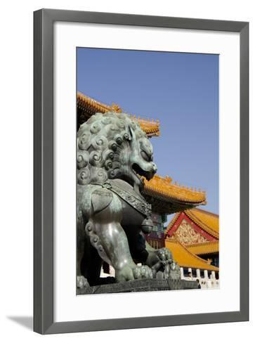Bronze Mythological Lion Statue, Forbidden City, Beijing, China-Cindy Miller Hopkins-Framed Art Print