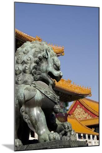 Bronze Mythological Lion Statue, Forbidden City, Beijing, China-Cindy Miller Hopkins-Mounted Photographic Print