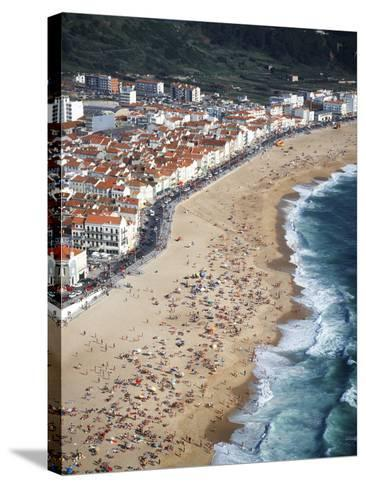 View of Town and Beach from Sitio, Nazare, Portugal-Walter Bibikow-Stretched Canvas Print