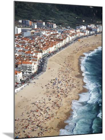 View of Town and Beach from Sitio, Nazare, Portugal-Walter Bibikow-Mounted Photographic Print