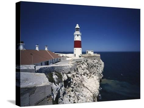 Lighthouse, Europa Point, Gibraltar, Spain-Walter Bibikow-Stretched Canvas Print