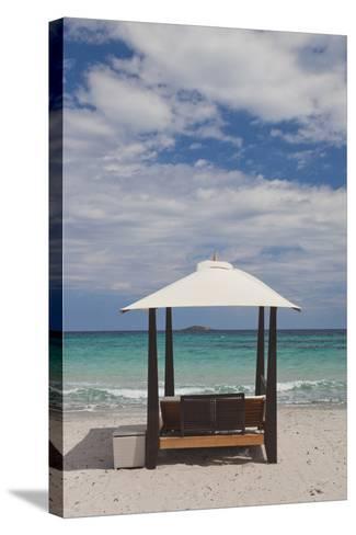 Beach Lounge Chairs, Porto Vecchio, Corsica, France-Walter Bibikow-Stretched Canvas Print