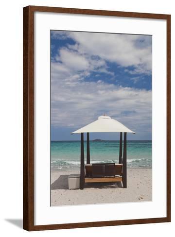 Beach Lounge Chairs, Porto Vecchio, Corsica, France-Walter Bibikow-Framed Art Print