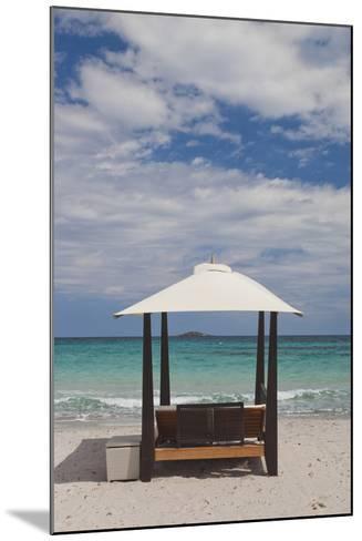 Beach Lounge Chairs, Porto Vecchio, Corsica, France-Walter Bibikow-Mounted Photographic Print