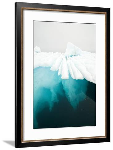 Glacial Iceberg Floating Along Coast, Spitsbergen, Svalbard, Norway-Steve Kazlowski-Framed Art Print