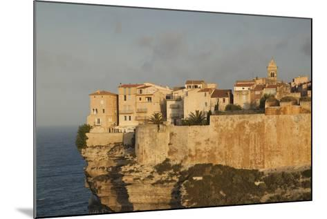 Cliffside Houses at Dawn, Bonifacio, Corsica, France-Walter Bibikow-Mounted Photographic Print