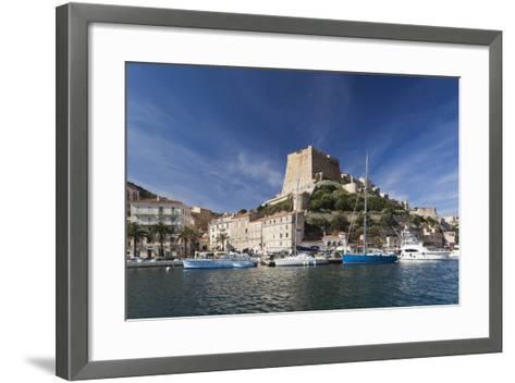 Port and Citadel at Morning, Bonifacio, Corsica, France-Walter Bibikow-Framed Art Print