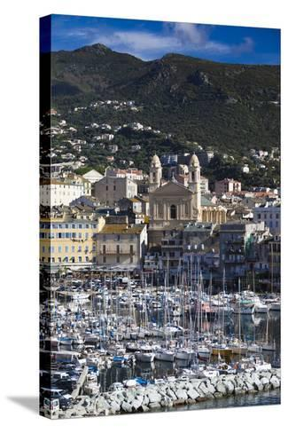The Old Port, Elevated View of the Old Port, Bastia, Corsica, France-Walter Bibikow-Stretched Canvas Print