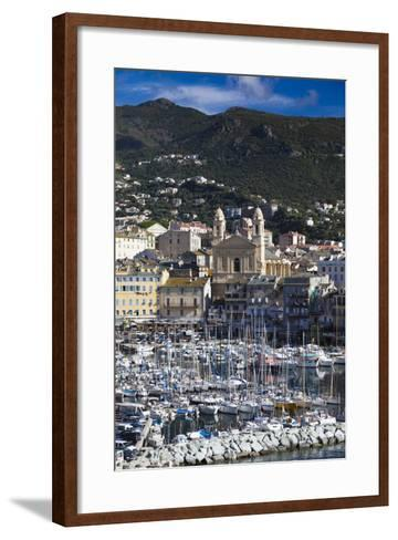 The Old Port, Elevated View of the Old Port, Bastia, Corsica, France-Walter Bibikow-Framed Art Print