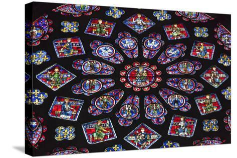 Chartres Cathedral, Stained Glass, Chartres, Eure Et Loir, France-Walter Bibikow-Stretched Canvas Print