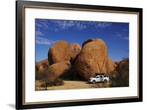 4X4 and Campsite Beside Giant Boulders at Spitzkoppe, Namibia-David Wall-Framed Art Print
