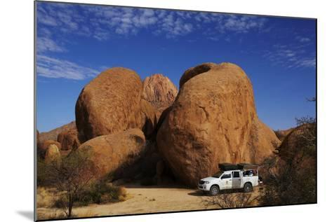4X4 and Campsite Beside Giant Boulders at Spitzkoppe, Namibia-David Wall-Mounted Photographic Print