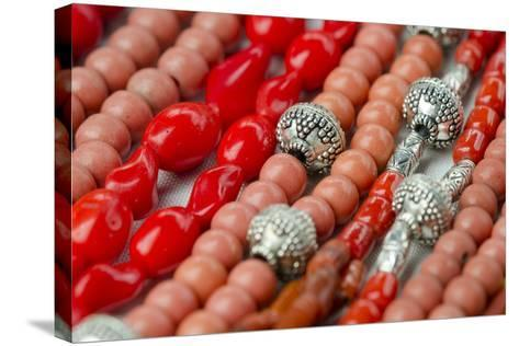 Glass and Silver Bead Necklaces, Otavalo Market, Quito, Ecuador-Cindy Miller Hopkins-Stretched Canvas Print