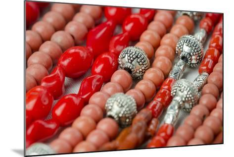 Glass and Silver Bead Necklaces, Otavalo Market, Quito, Ecuador-Cindy Miller Hopkins-Mounted Photographic Print